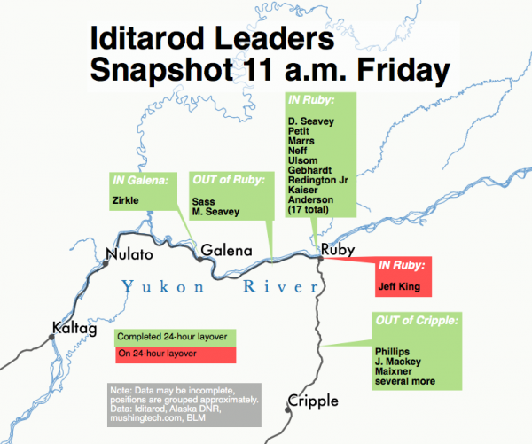 Frontrunners in the 2016 Iditarod are pushing past Ruby into the Yukon River community of Galena. (Graphic by Ben Matheson/Alaska Public Media)
