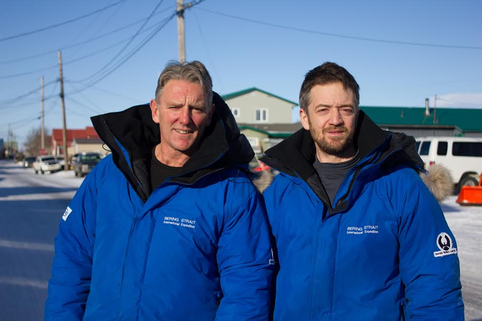 Neil Laughton (left) and James Bingham were recently rescued by U.S. Coast Guard off the Bering Strait. (Photo by Emily Russell, KNOM)