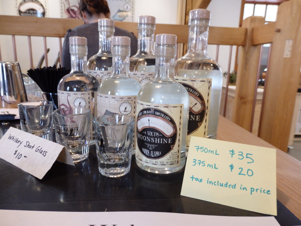 Haines' Port Chilkoot Distillery Icy Strait Vodka, 50 Fathoms Gin and 12 Volts Moonshine. (Photo by Emily Files, KHNS - Haines)