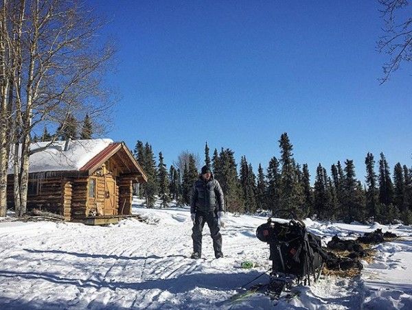 Brent Sass along the Iditarod trail on Saturday. (Photo by Emily Schwing/KNOM)