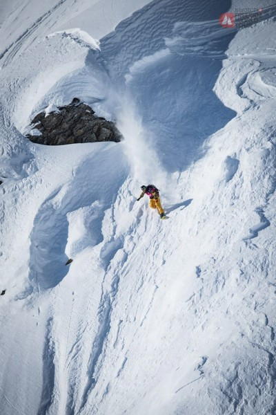 Snowboarder Flo Orley competing in Haines in 2015. (Photographer: David Carlier/Freeride World Tour)