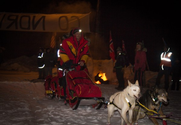 Mitch Seavey was the first in a large group of mushers finishing their 24s late Wednesday night and early thur morning. (Photo by Zachariah Hughes/KSKA)