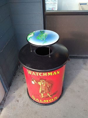 Trash can with Watchman label. (Photo courtesy of Bruce Schactler)