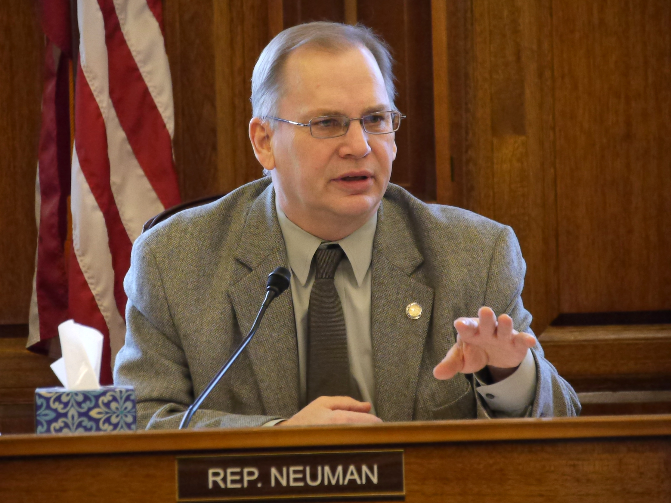 Rep. Mark Neuman, R-Big Lake, during discussions about the state operating budget shortly before it was passed out of the House Finance Committee, March 9, 2016. (Photo by Skip Gray/360 North)