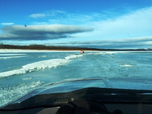 Kuskokwim River flooding near Chuathbaluk after the initial snow melt last week. (Photo courtesy of Mark Leary.)