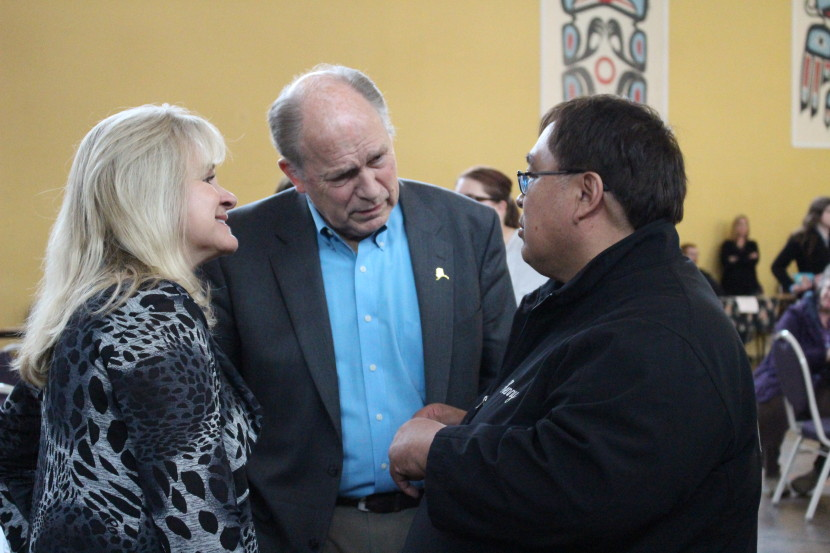First lady Donna Walker and Gov. Bill Walker talk to a man at Saturday's Hope, Not Heroin event. (Photo by Elizabeth Jenkins, KTOO - Juneau)