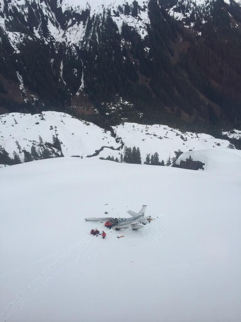 Rescuers work at the site of a crashed small plane on Admiralty Island on Friday. (Photo courtesy Sitka Mountain Rescue)