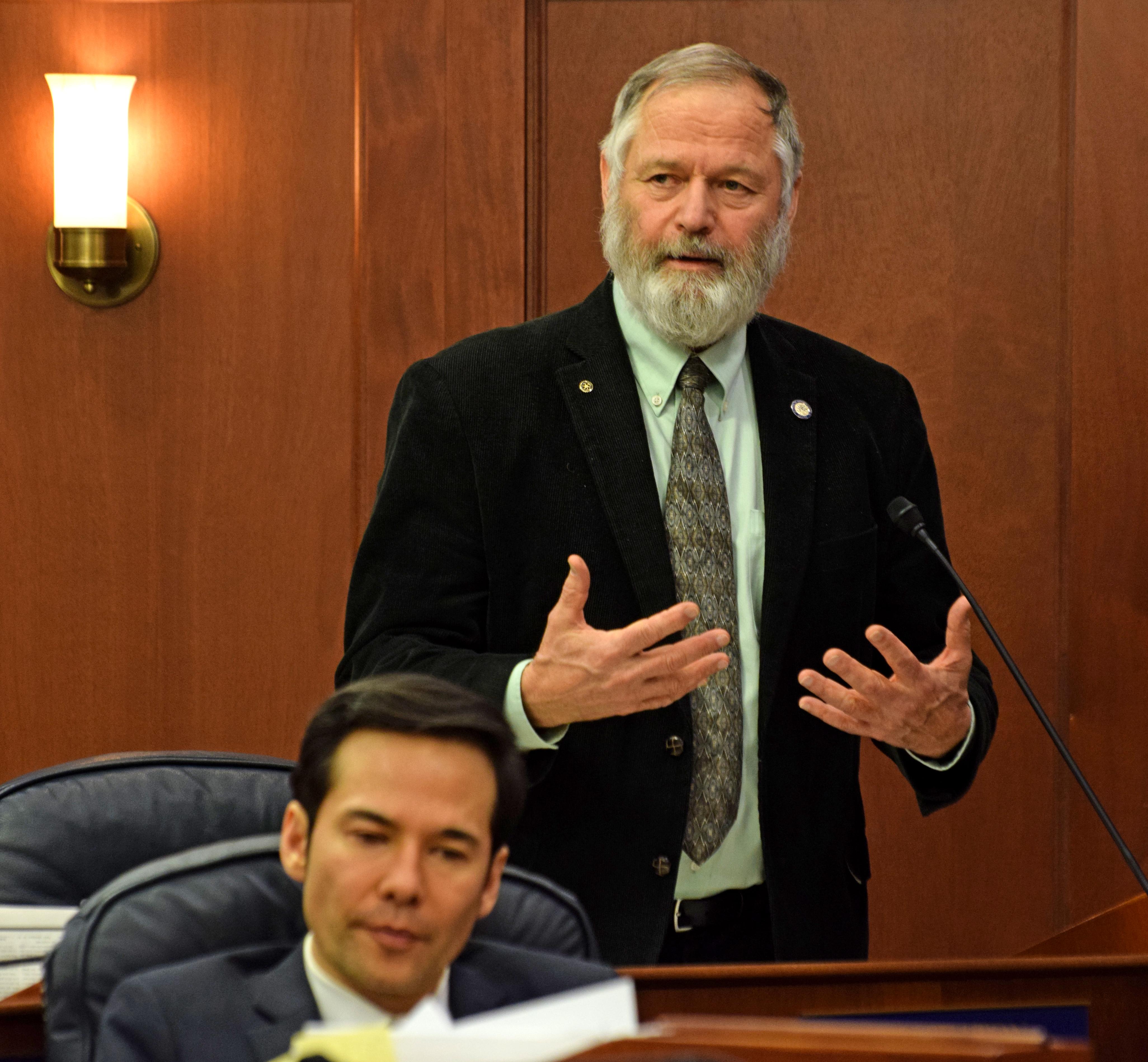 Rep. Paul Seaton, R-Homer, addresses the Alaska House of Representatives last year. (Photo by Skip Gray/360 North)