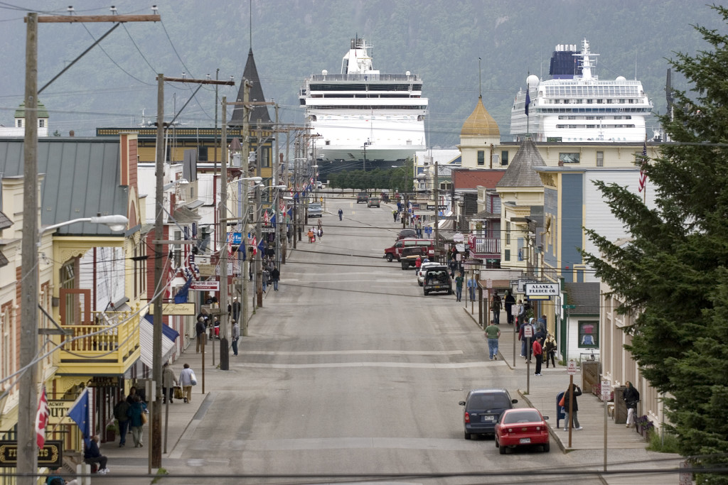 Cruise ships loom over Skagway's Broadway Street. (Photo courtesy of Skagway CVB)