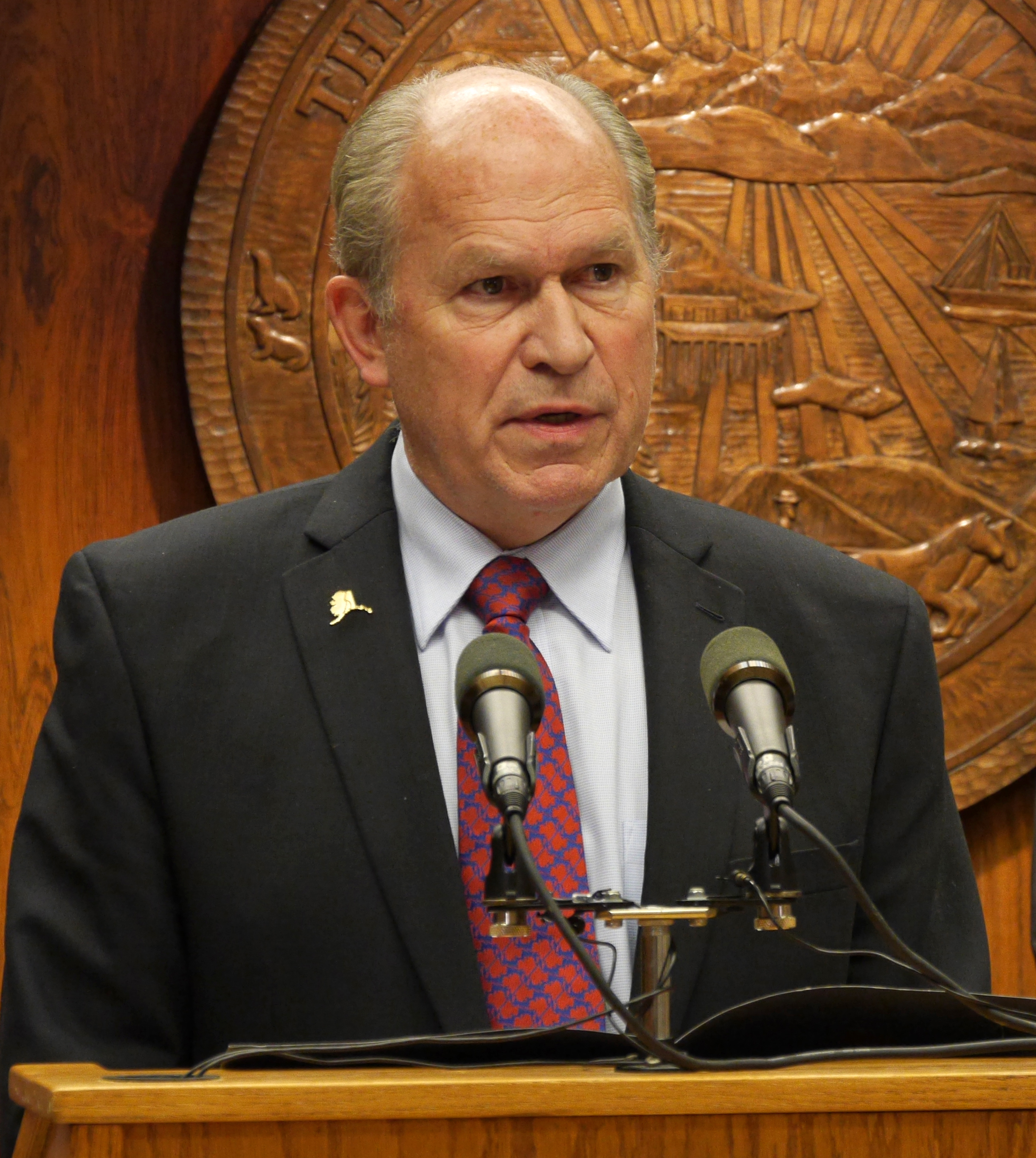 Gov. Bill Walker at a press availability, January 28, 2016. Walker has remained hopeful about the passing of an oil and gas tax bill. (File photo by Skip Gray, 360 North)