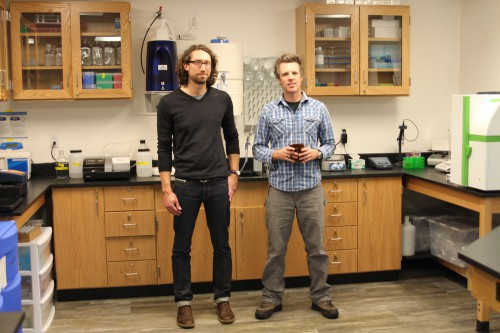 Lab manager Michael Jamros stands with Chris Whitehead, founder of the Southeast Alaska Tribal Ocean Research group. The lab hopes to be regional testing hub for commercial and casual shellfish harvesters alike. (Photo by Emily Kwong, KCAW - Sitka)