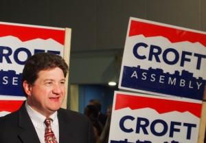 Eric Croft making his victory lap at Election Central. (Hughes/KSKA)