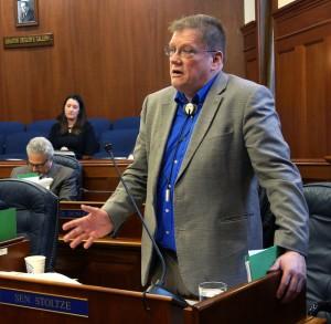 Rep. Bill Stoltze, R-Chugiak, on the Senate floor, April 6, 2016. (Photo by Skip Gray/360 North)