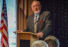 U.S Rep. Don Young speaks to the Capital City Republicans and Capital City Republican Women at the Prospector Hotel April 4, 2016. (Photo by Jennifer Canfield/KTOO)