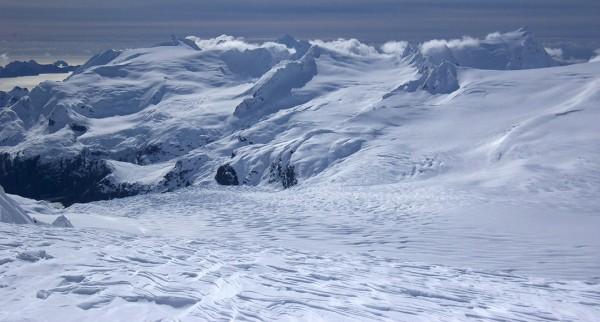 Overlooking Aialik Glacier and the Kenai Fjords south of Seward on the Kenai Peninsula from the Harding Icefiled at about 5,000 feet elevation on Friday, April 8, 2016. (Photo courtesy of Jenny Neyman)