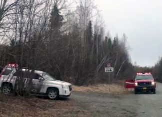 Emergency vehicles near the scene of a plane crash in Birchwood on April 20, 2016. (Photo by Ellen Lockyer/Alaska Public Media)