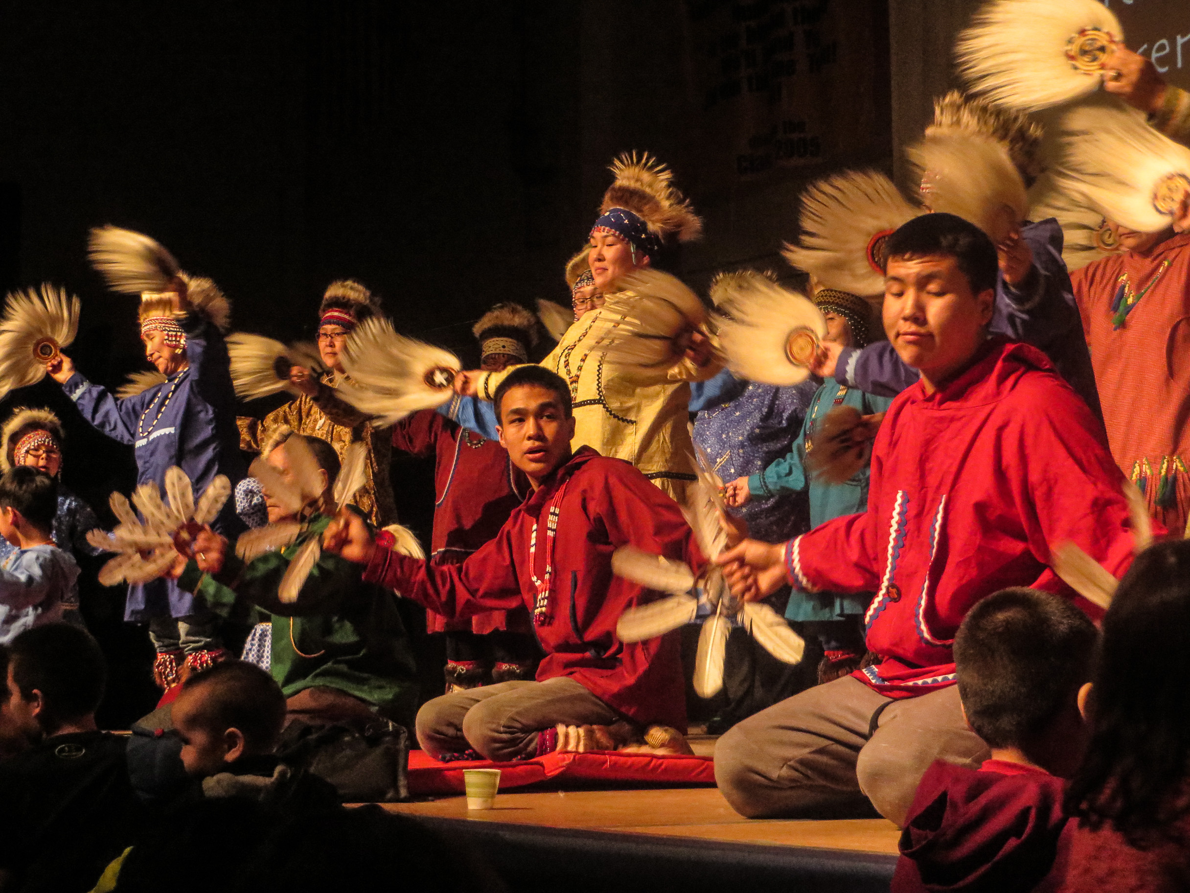 Byron Nicholai performs with the Toksook Bay Traditional Dancers. (Photo by Laura Kraegel, KNOM - Nome)