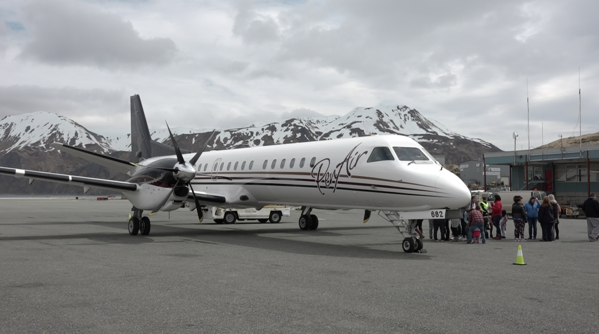 Unalaskans got to inspect PenAir's new Saab 2000 on Friday. (Photo courtesy of Chrissy Roes)