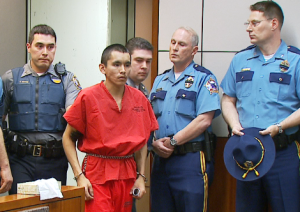 Nathanial Kangas charged in a Fairbanks court on May 3, 2014. (Photo courtesy of KTUU)