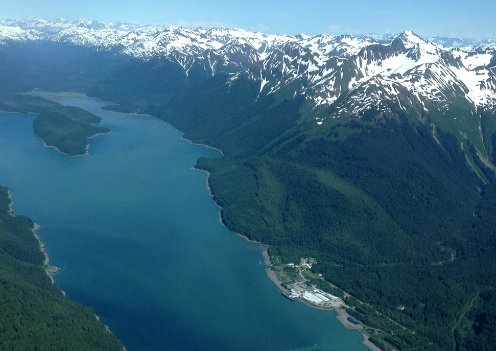 Excursion Inlet from the air. (Photo by Janine Allen, KHNS - Haines)