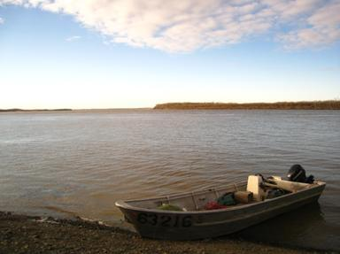 Fishing skiff in Marshall, Alaska. (Photo courtesy of Danielle Ringer / Alaska Department of Fish and Game)