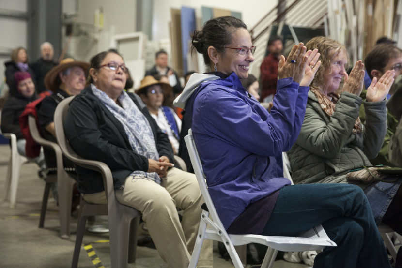 At least 100 people celebrated during a groundbreaking ceremony for the construction of a homeless housing facility on Monday May 16, 2016 in Juneau, Alaska. The Juneau Housing First Collaborative is overseeing the project which will put a 32-unit facility in place. (Photo by Rashah McChesney, KTOO - Juneau)