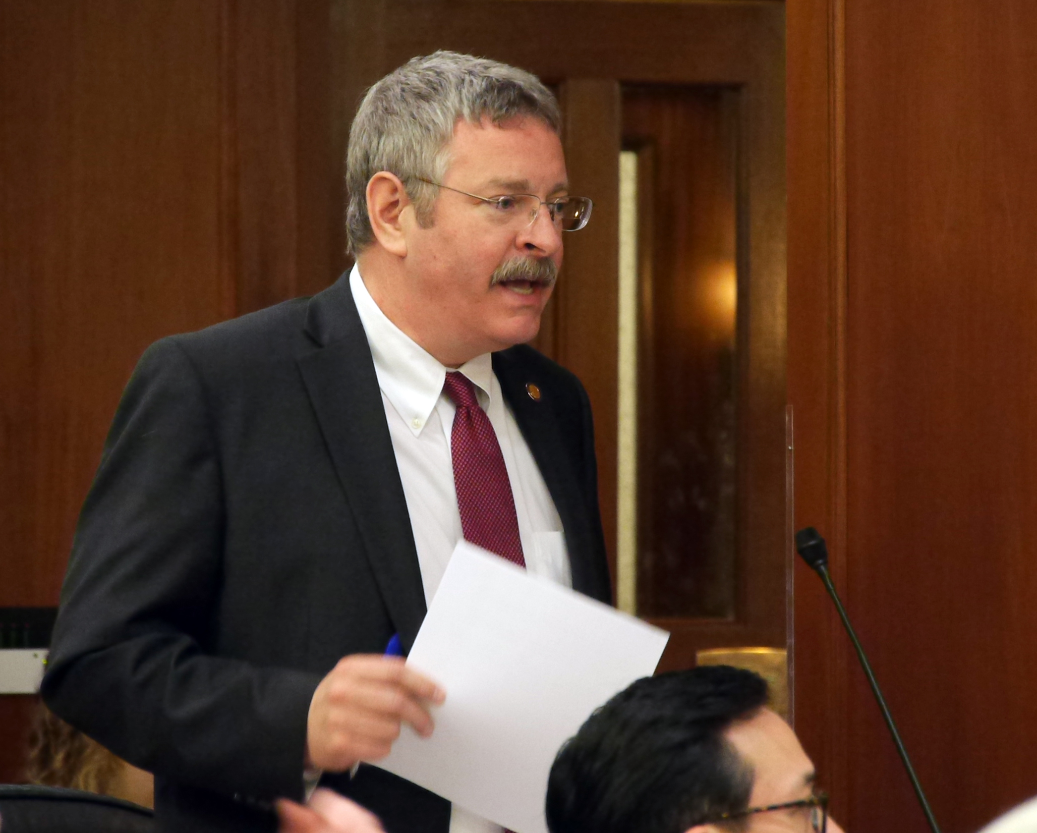 Rep. Dan Saddler, R-Eagle River, discusses the state operating budget on the floor the House of Representatives, March 11, 2016. (Photo by Skip Gray, 360 North)
