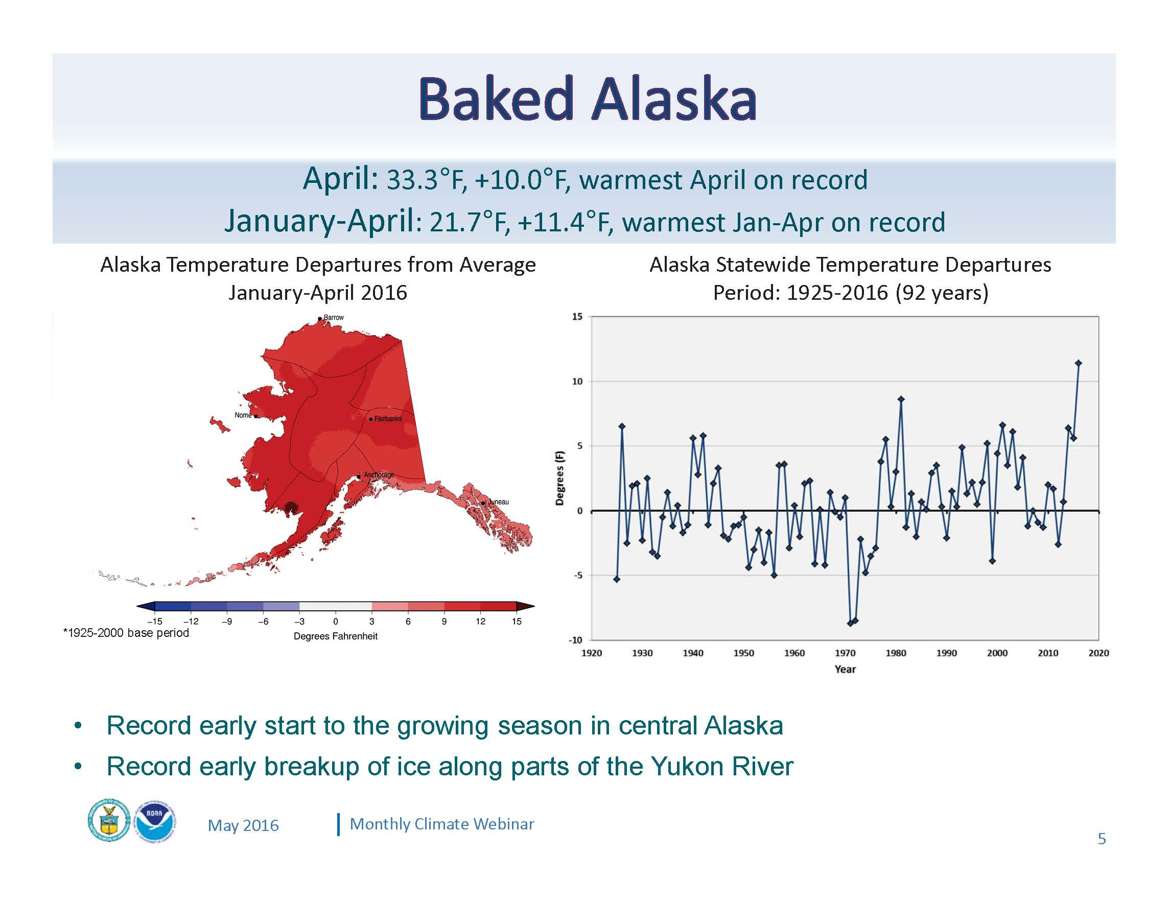 An intensely warm winter and spring are melting climate records across Alaska. The January-April 2016 period was an incredible 11 degrees above normal, setting the stage for a potentially unprecedented summer. (Graphic courtesy of NOAA)