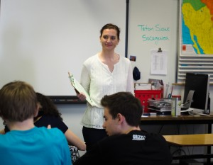 This was the fifth year Tonya Shakhov has done Project Citizen with students at Gruening Middle School. Photo: Zachariah Hughes, Alaska Public Media.