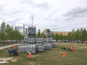 "Mary Mattingly's ""Arctic Food Forest,"" a living sculpture that functions similar to a small-scale ecosystem, exhibited in front of the Anchorage Museum as part of ""The View From Up Here."" May 2016, Zachariah Hughes"