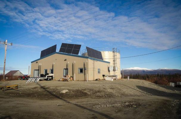 Solar panels in the Northwest Arctic village of Shugnak. (Photo courtesy of Ingemar Mathiasson/NWAB)
