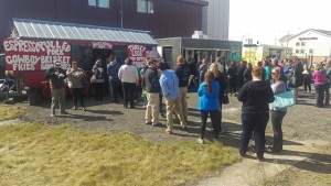Seven food trucks took part in the opening day of K Street Eats. (Photo by Josh Edge/APRN)