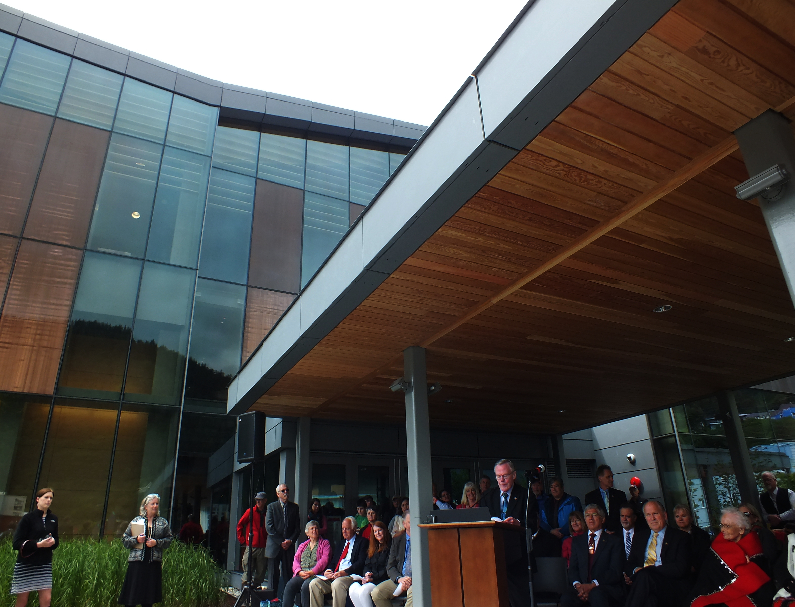 Juneau Sen. Dennis Egan addresses a crowd during the grand opening of the Father Andrew P. Kashevaroff Library, Archives and Museum on June 6, 2016. (Photo by Matt Miller, KTOO - Juneau)
