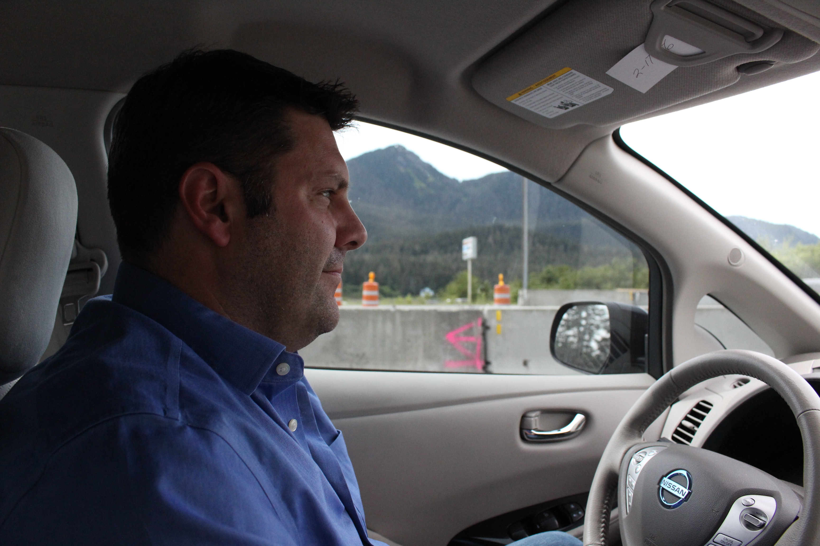 Travis McCain says he doesn't feel like he's given anything up driving a fully electric car. (Photo by Elizabeth Jenkins, KTOO - Juneau)