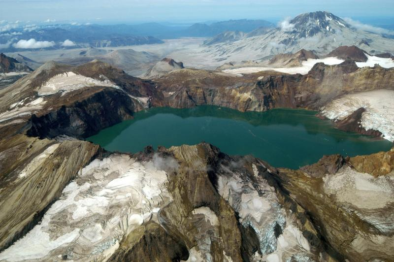 Katmai Calder, glacier, and Mt Griggs (Photo courtesy of the National Park Service)