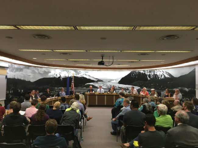More than 60 people crowded into the Juneau Assembly Chambers to listen to testimony on Juneau's proposed anti-discrimination ordinance. (Photo by Lakeidra Chavis, KTOO - Juneau)