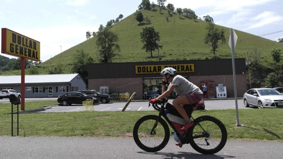 Lael Wilcox during the Trans Am bike race in Western Virginia. (Photo courtesy of Trans Am Bike Race blog)