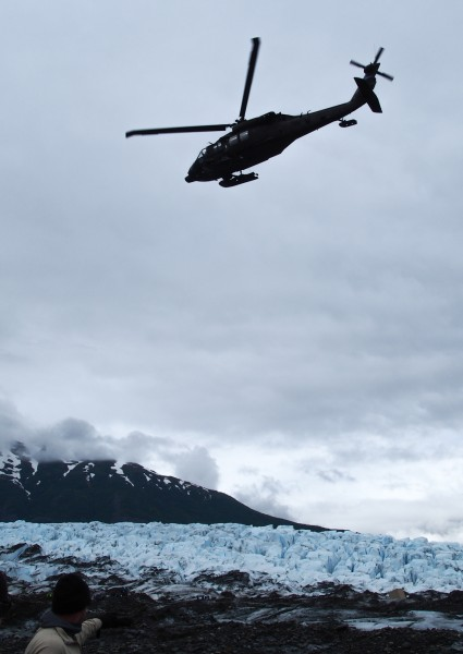 Though the area of the glacier under excavation is relatively safe, visitors and crews exercise considerable precaution due to shifting weather and surface conditions. Photo: Zachariah Hughes, Alaska Public Media.
