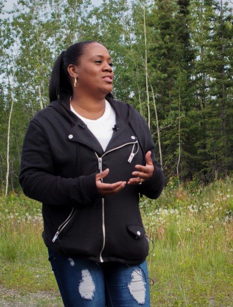 Tonja Anderson-Dell, who's grandfather was 21-years-old when he died in the crash, serves as an intermediary between family members and the military as they continue work excavating remains. Photo: Zachariah Hughes, Alaska Public Media.