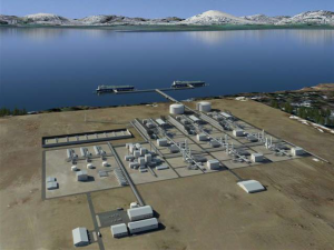 This illustration shows a rendition of what the liquefaction plant in Nikiski could look like if the Alaska LNG project is completed as planned. (Image courtesy of the Alaska LNG project.)