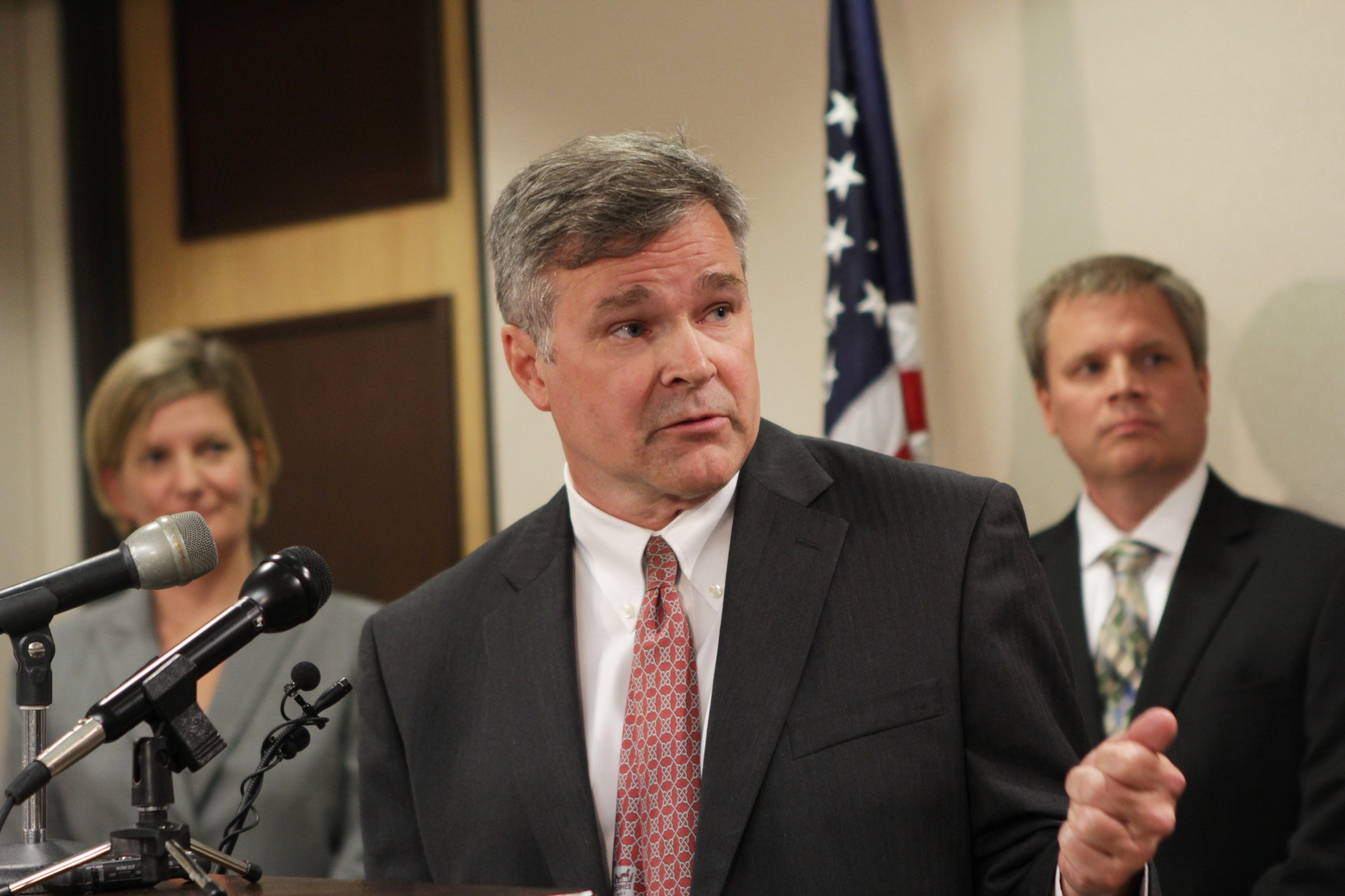 Alaska Natural Resources Commissioner Andy Mack at a press conference in Anchorage on June 28, 2016. (Photo by Graelyn Brashear, Alaska Public Media - Anchorage)