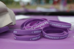 Bracelets on display at Anchorage's Run/Walk for Epilepsy on Saturday, June 4. (Photo by Graelyn Brashear, Alaska Public Media - Anchorage)