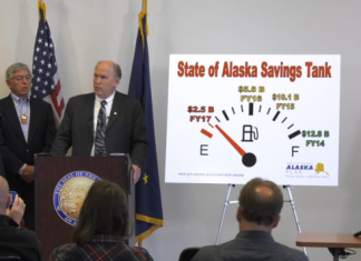 Governor Bill Walker announced vetoes totaling $1.29 billion at a press conference in Anchorage on Wednesday, June 29, 2016. (Screenshot via web stream courtesy Gov. Walker's office)