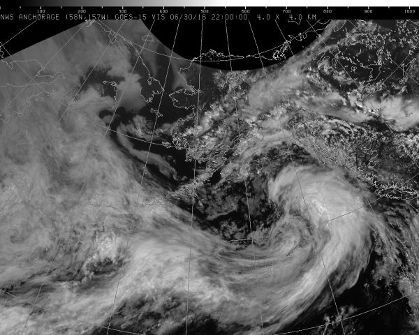 A fast-moving storm is set to move through the Copper River Basin, Mat-Su, Anchorage and the Northern Kenai Peninsula in the evening of Thursday, 6/30/16. (Image courtesy National Weather Service)