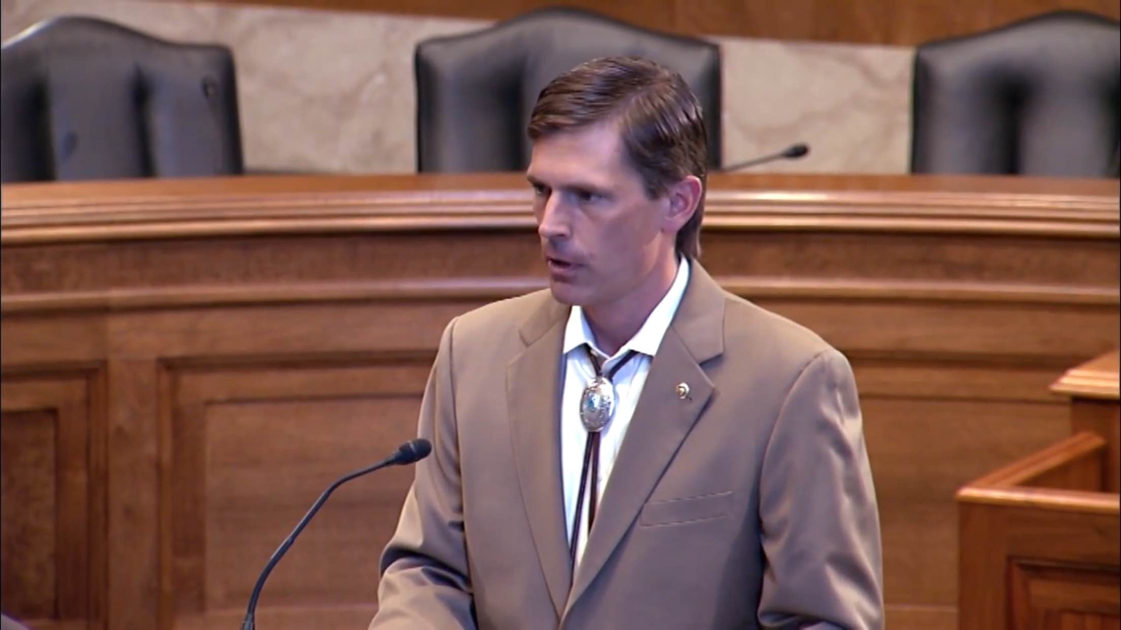 Martin Heinrich, junior Senator from New Mexico speaking in Washington D.C. about the STOP Act. (Screenshot courtesy of Office of Martin Heinrich)