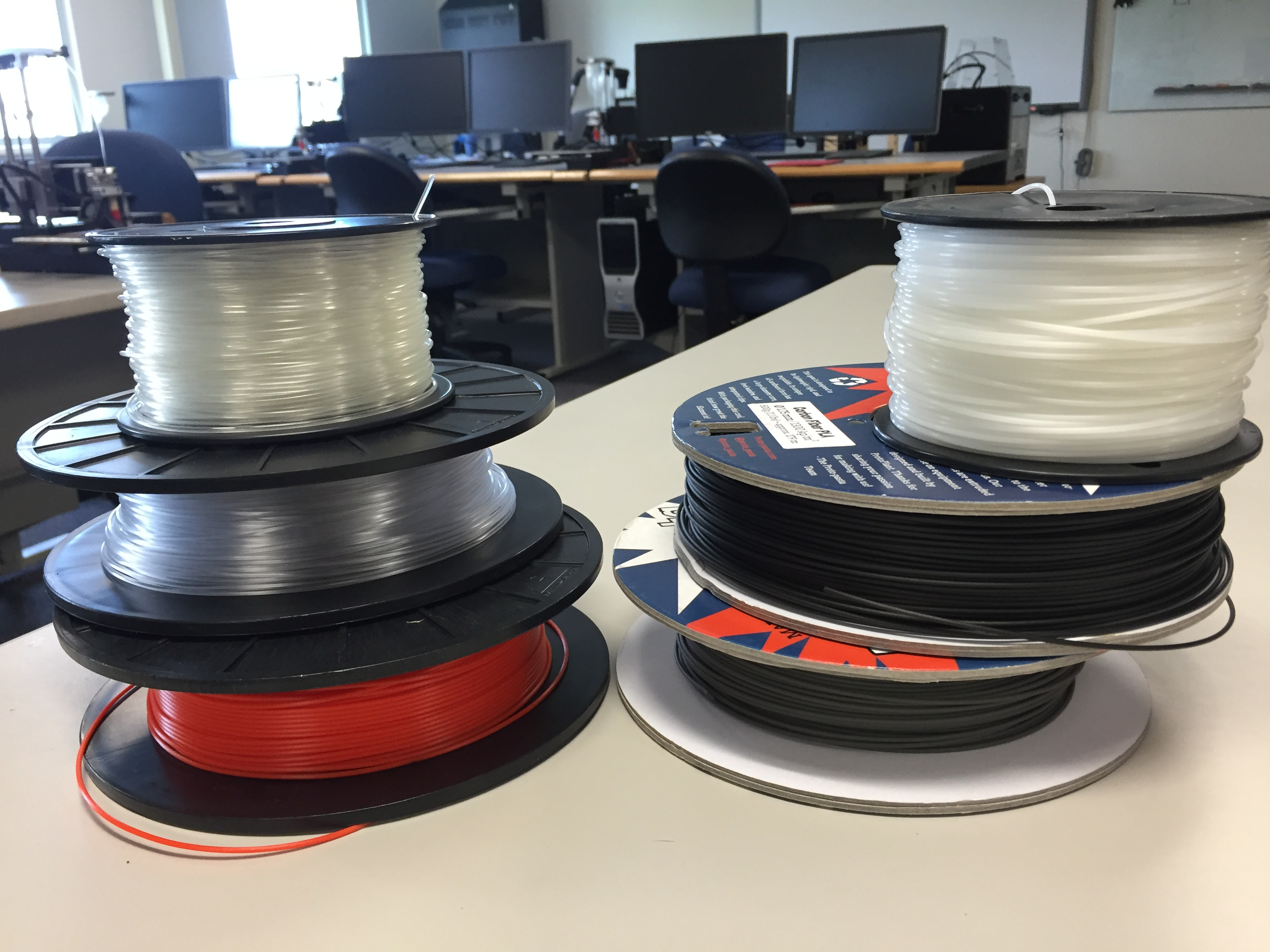 Spools for the 3-D printers (Photo by Robyne, KUAC - Fairbanks)