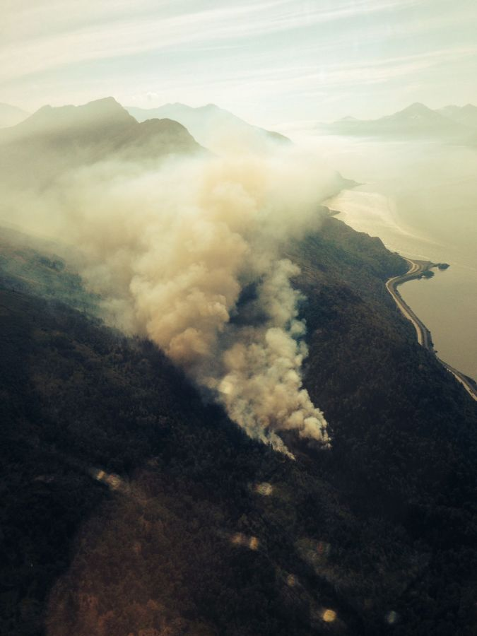 This aerial photo of a 25-acre wildfire burning in the McHugh Creek drainage south of Anchorage off the Seward Highway was taken at approximately 10:30 a.m. (Alaska Division of Forestry photo)