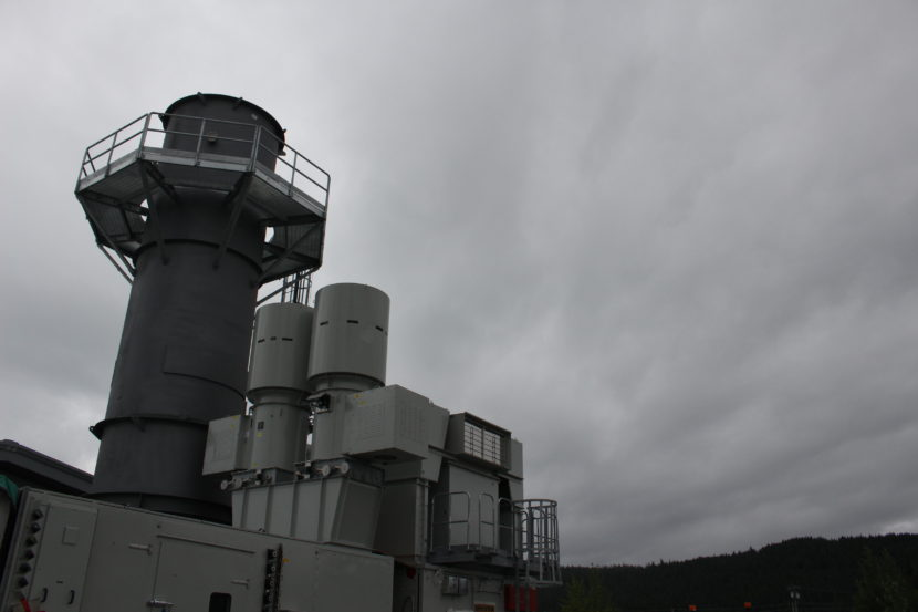 The exhaust stack for the new diesel turbine. (Photo by Elizabeth Jenkins, KTOO - Juneau)