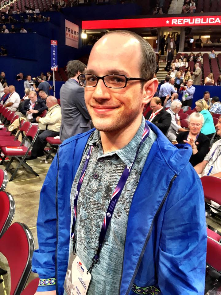 Trevor Shaw at the Republican National Convention in Cleveland, OH. (Photo by Liz Ruskin, Alaska Public Media - Cleveland)
