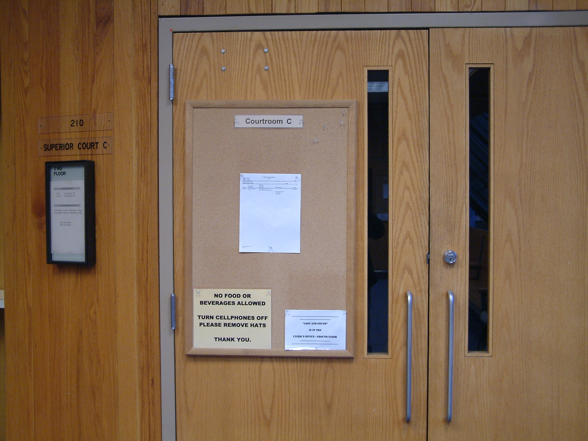 Entrance to one of the courtrooms in the Dimond Courthouse in Juneau. (Photo by Matt Miller, KTOO - Juneau)